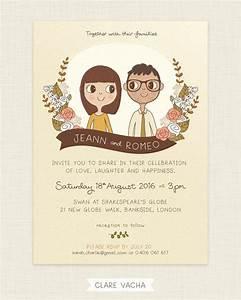 custom wedding invitation couple portrait illustration With e wedding invitation with photos of couples