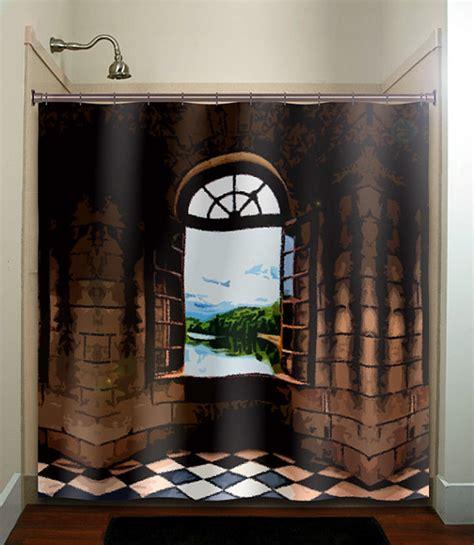 non slip shower mat castle window shower curtain bathroom decor by tablishedworks