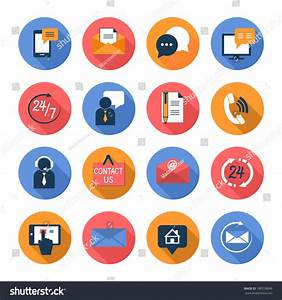 Customer Care Contacts Flat Icons Set Stock Vector ...