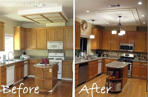 It involves removing the old fixtures, installing the recessed lights, and repairing any ceiling damage left over from the old light fixtures. Removing A Large Fluorescent Kitchen Box Light (Flashback Friday)   Fluorescent kitchen lights ...