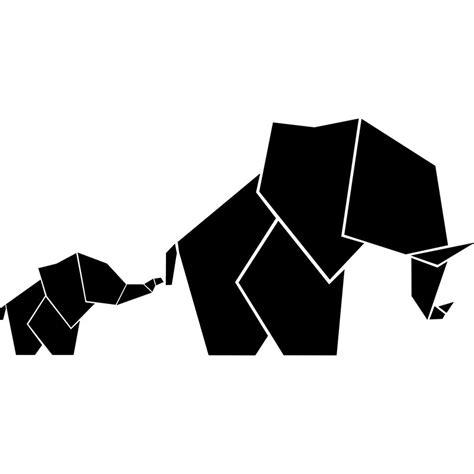 elements de cuisine sticker bébé et maman éléphant en origami