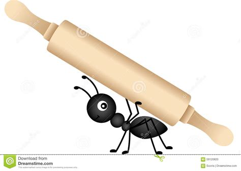 Ant carrying a rolling pin stock vector. Illustration of ...