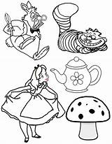 Tea Party Wonderland Alice Mad Hatter Coloring Pages Clipart Clip Drawings Drawing Disney Cartoon Hatters Teapot Characters Dormouse Adult Cut sketch template