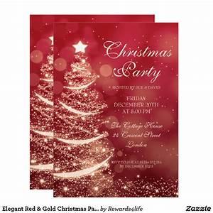 Elegant Red  U0026 Gold Christmas Party Sparkle Invitation