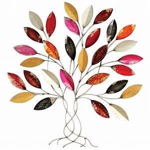 Arbre De Vie Deco : d co murale m tal arbre contemporain au feuillage multicolore vif ~ Dallasstarsshop.com Idées de Décoration