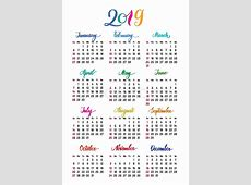Yearly Calendar 2019 Printable Full Year Theme swifteus