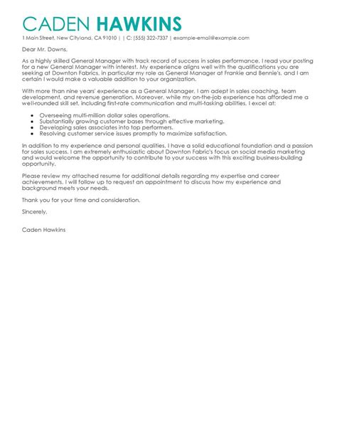 Sle Of A General Cover Letter by Best Sales General Manager Cover Letter Exles Livecareer
