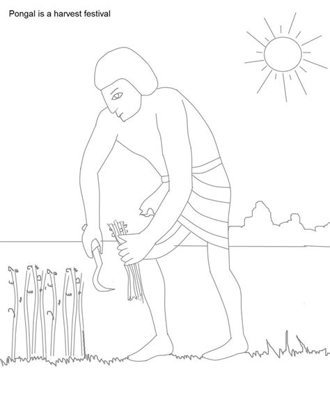 Coloring Outlines by Pongal Celebrations Coloring Pages