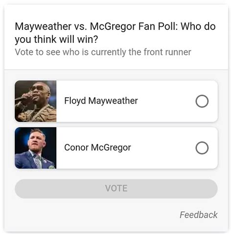 mayweather vs mcgregor poll in google search google polls