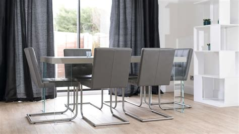 real leather designer dining chair grey white and black uk