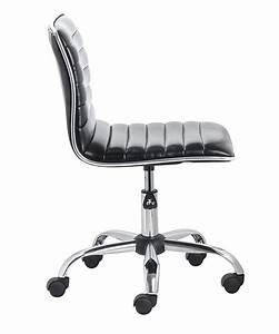 Mid, Back, Armless, Ribbed, Task, Leather, Chair, Black, Upholstery, Chrome, U2013, Btexpert