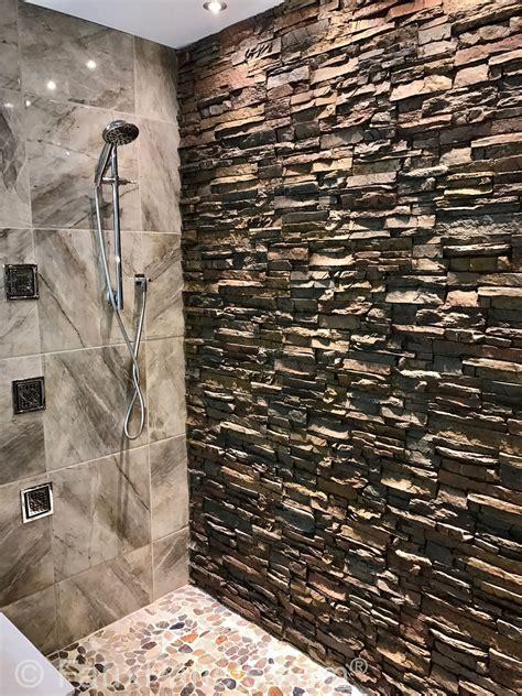 stack rock fireplace bathroom design ideas remodeling pics with faux
