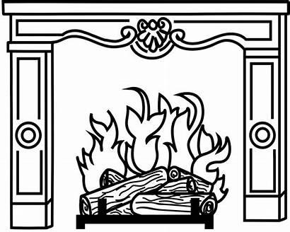 Fireplace Printable Diy Paste Outline Christmas Advent