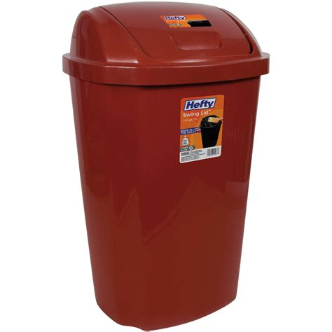 Kitchen Trash Can 135 Gallon Hefty Swing Lid Red Waste