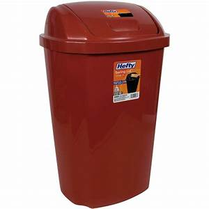 Kitchen trash can 135 gallon hefty swing lid red waste for Kitchen trash cans with lids