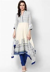 Biba Off White Solid Cotton Churidar Kameez Dupatta - Buy ...