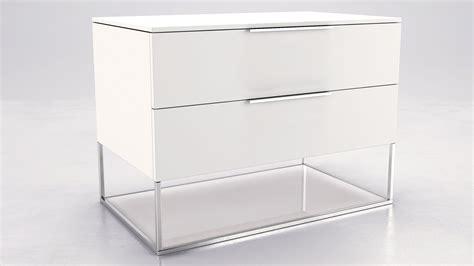 matte white lacquer and glass nighstand zuri