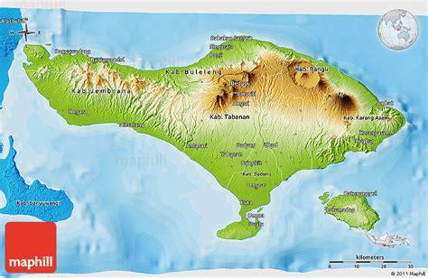 physical  map  bali political shades