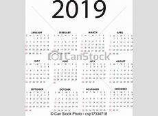 Clip Art Vecteur de calendrier, 2019 simple, vecteur