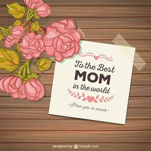 Mothers day card with flowers on wood background Vector ...