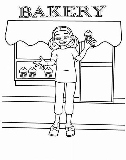 Coloring Bakery Colorir Printable Sheets Selling Padaria