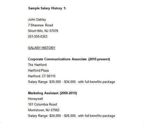sample salary history templates  word