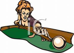 A Woman Playing Billards - Royalty Free Clipart Picture