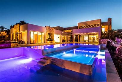 Luxury Pool Villa Background Architecture Mansion Wallpapers