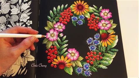 Coloring Flowers With Colored Pencils by The Garden Blomstermandala Coloring Book Coloring With