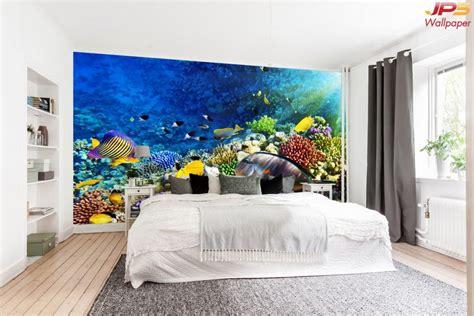 วอลเปเปอร์สั่งทำผ้าซาติน ลายปะการัง ปลาใต้น้ำลึก ตกแต่ง ...