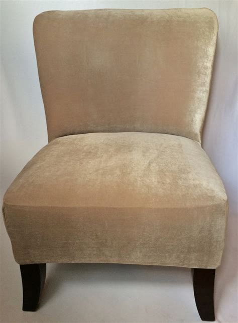 Accent Chair Slipcover Slipcover Beige Velvet Stretch Chair Cover For Armless Chair