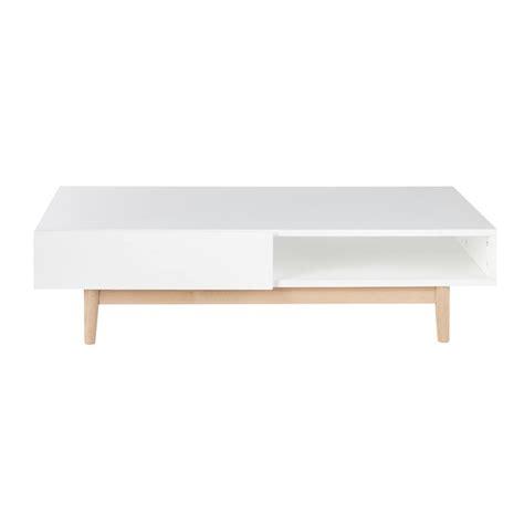 Table Basse Scandinave 2 Tiroirs Blanche Artic Maisons