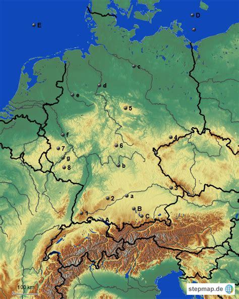 stepmap topographie deutschland landkarte fuer deutschland