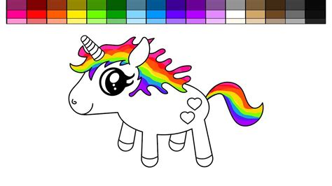 learn colors  kids  color rainbow unicorn coloring