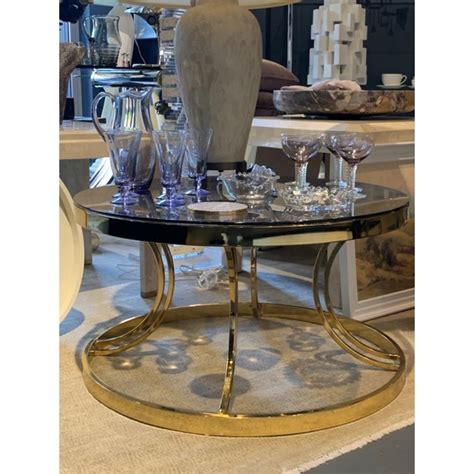 It has a smooth, gray laminate top and black metal, open frame legs. Vintage Gold Round Coffee Table - H42xD76cm - Topaz Glass ...