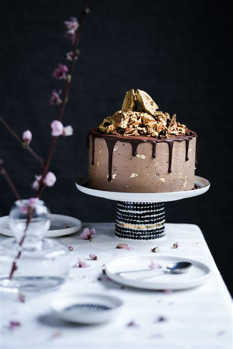 Chocolate Golden Honeycomb Cake - The Polka Dotter
