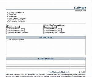Job estimate template blue layouts for Written estimate template