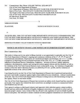 Notice Of Intent To Sue The City Of New York Department Of