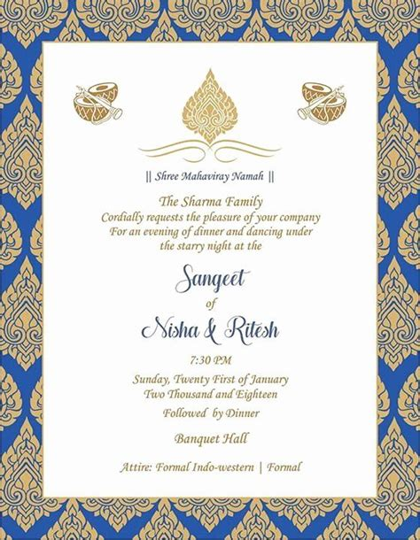 Indian Wedding Invitation Templates Unique Wedding