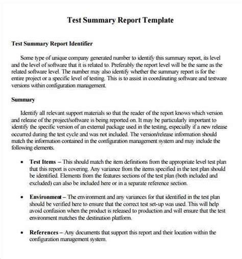 summary report templates excel  formats