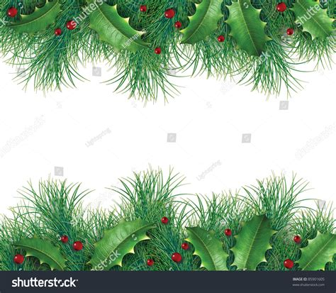 pine branches  holly  red berries   christmas