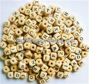 10mm natural colors wood cube alphabetletter beads for With wooden letter beads wholesale