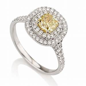 Cushion double halo fancy yellow diamond engagement ring for Colored diamond wedding ring