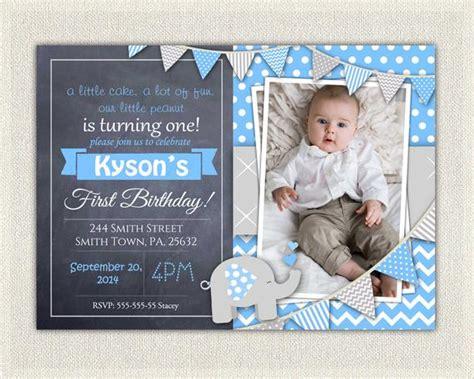 Elephant Boys Blue Grey 1st Birthday Invitation / Download