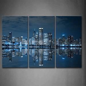 3 Piece Blue Wall Art Painting Cool Buildings In Dark