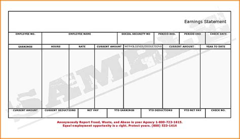 Check Stub Template Blank Pay Stubs Template Exle Mughals