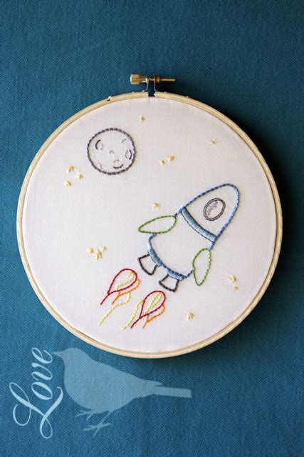 Space Ship Embroidery Pattern