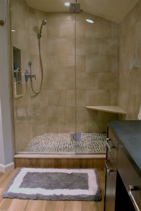 pebble tile shower floor porcelain wood tile shower with