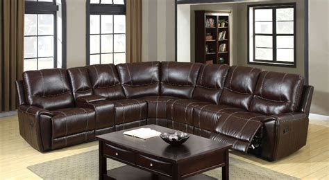 Recliner Sectional Sofas by 6559 Brown Reclining Console Sectional Sofa Furniture Of
