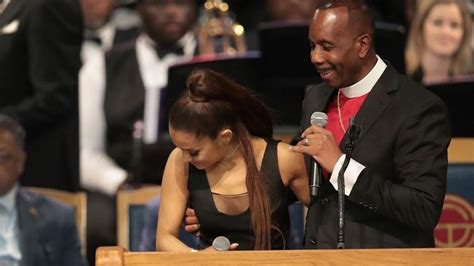 bishop  touched ariana grandes breast  apologised